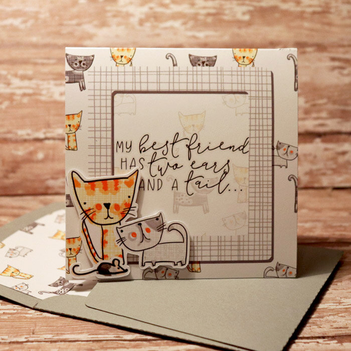 My Best Friend Cats card with matching envie
