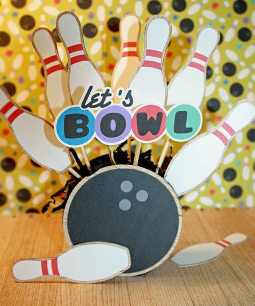 Bowling centerpiece using Digital Scrapbook kit: Ten Pin by Peppermint Creative