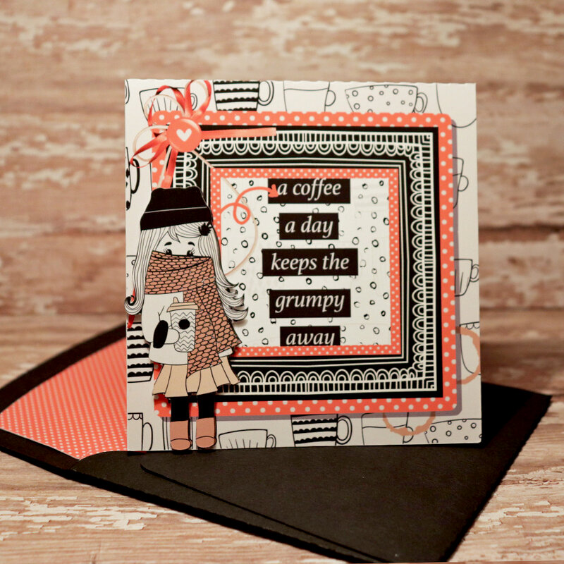 A Coffee a Day card with matching envie