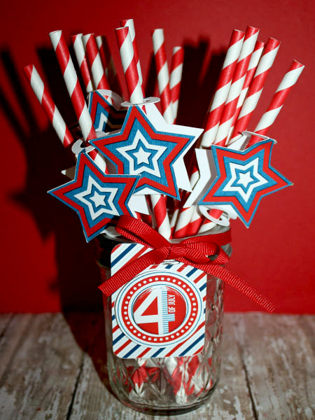 4th of July Straw Toppers and tag