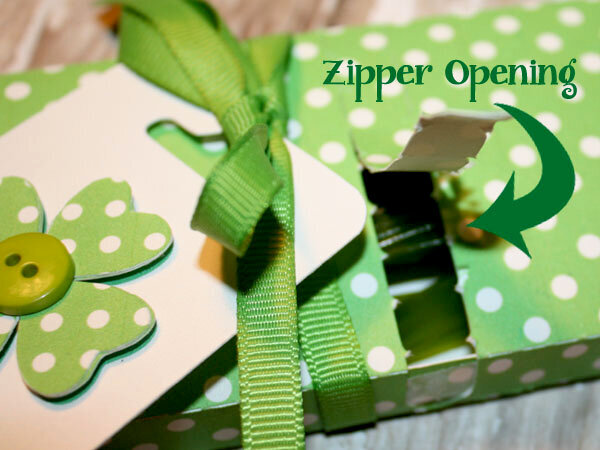 Close up of Candy Box with zipper closure
