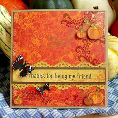 Pumpkin and red admiral card
