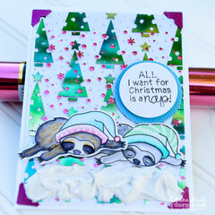 Sloth Christmas Cards with DecoFoil and Netwon's Nook