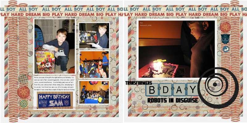 Transformer Birthday 2 page layout