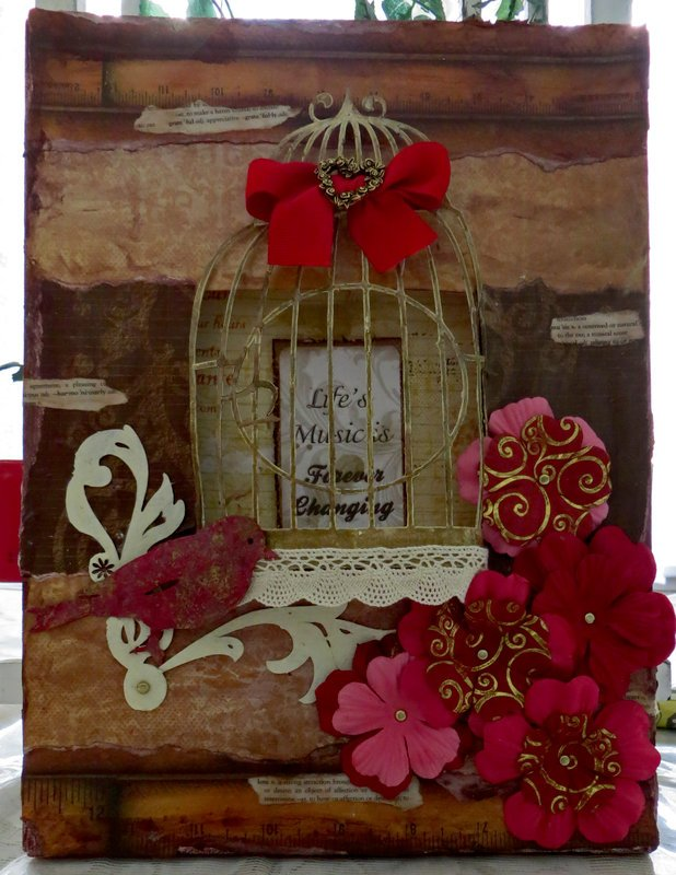Altered canvas using Quick Quotes Club Q for July