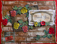 Brick & Rose Thank You Card ~ Red Rubber Designs DT