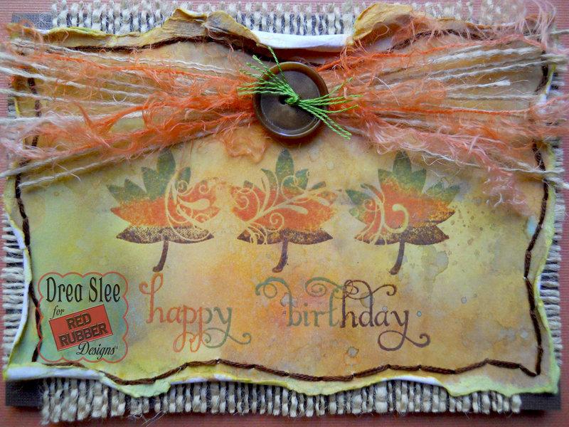 Happy Leaf Birthday Card ~ Red Rubber Designs DT
