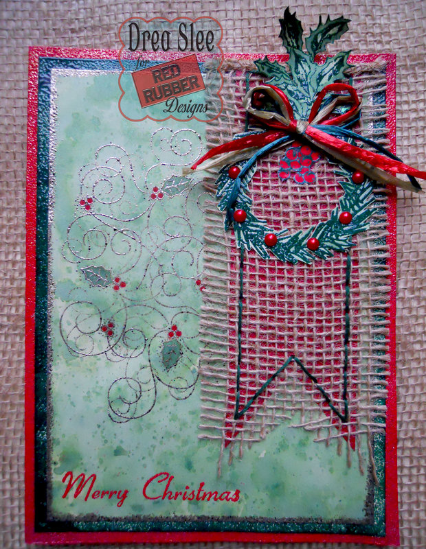 Holiday Wreath Card ~ Red Rubber Designs DT