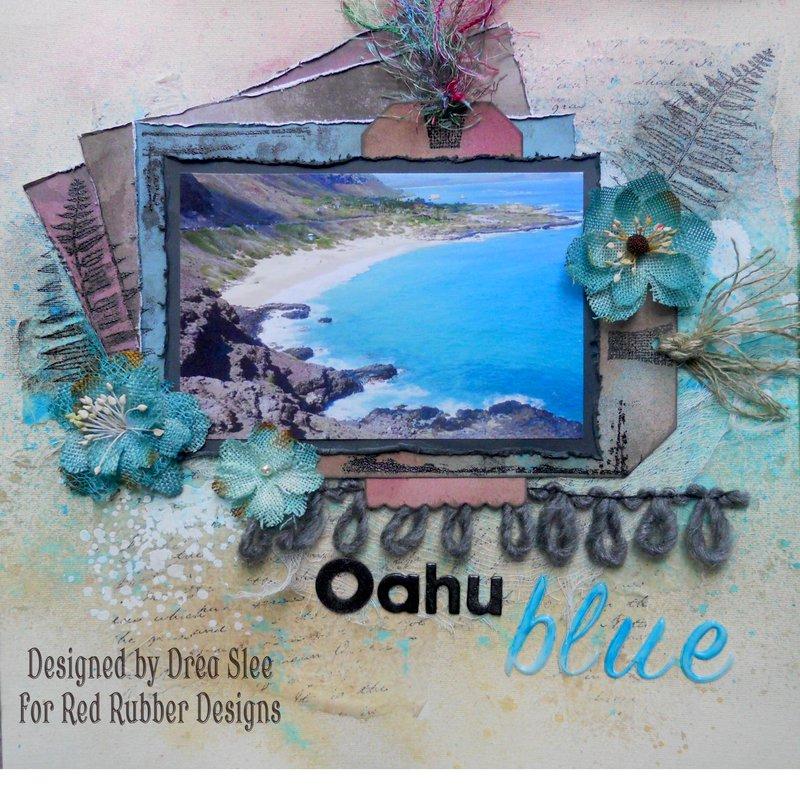 Oahu Blue ~ Red Rubber Designs DT