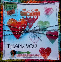 Hearts Thank You Card ~ Red Rubber Designs DT