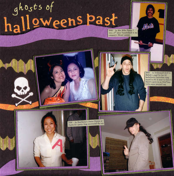 "Ghosts of Halloweens Past (left side) - SHCG ""Halloween LO Without Halloween-Themed Supplies"" Challenge"