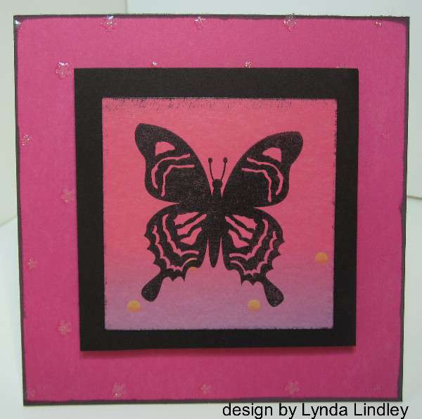 Black and pink butterfly card by Lynda