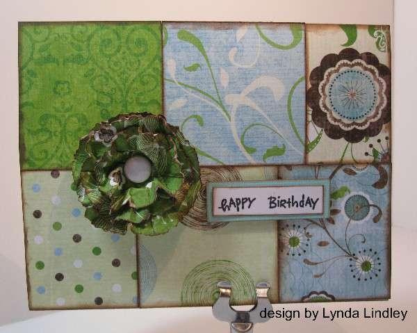 happy birthday paper flower card by Lynda