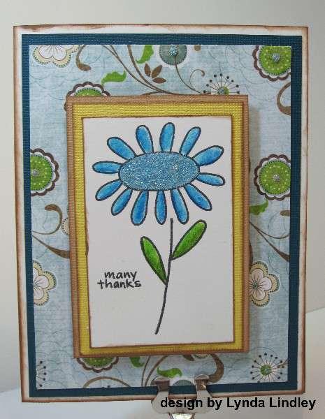many thanks sparkle flower card by Lynda