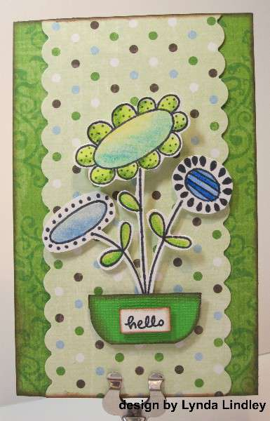 hello pot of flowers card by Lynda