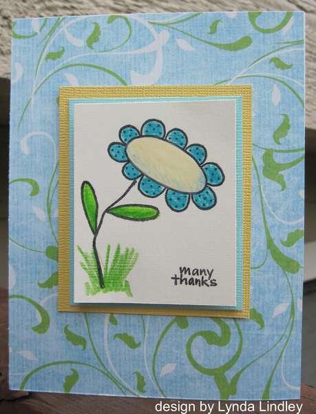 many thanks blue flower card by Lynda