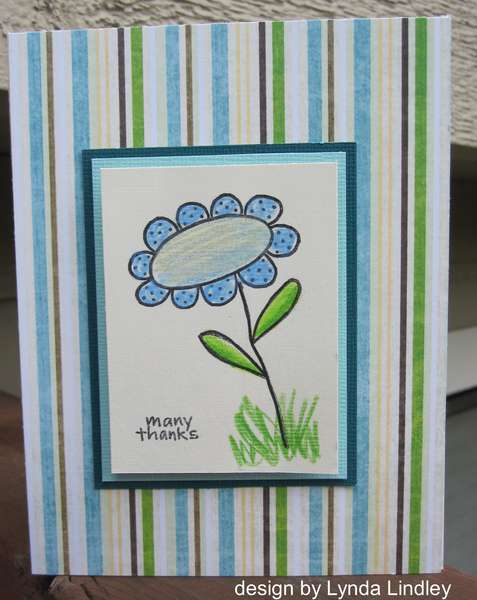 many thanks striped card by Lynda
