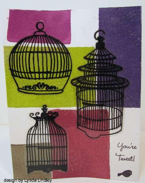 color blocking birdcages by Lynda