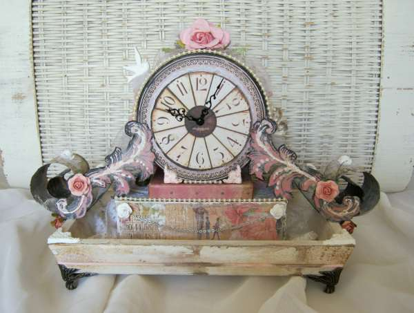 Shabby Chic Mantel Clock ***Swirlydoos Kit Club***