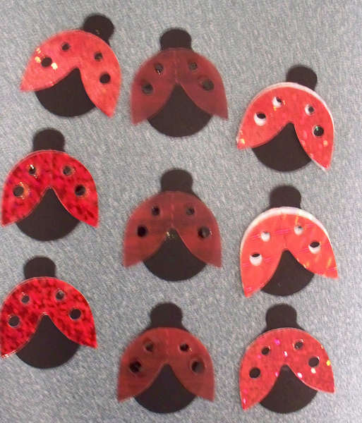 Embellished die cut swap-Lady bugs for Spring group