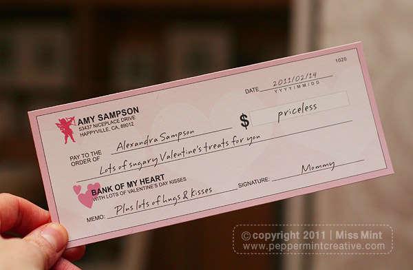 Printable Valentine's Love Cheques