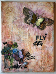 Fly a mixed media canvas