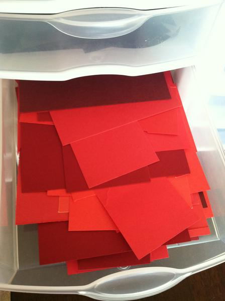 Storage for small paper scraps by color