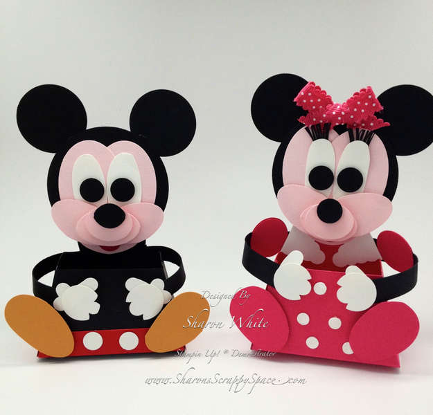 Mickey and Minnie Mouse Punch Art Treat Holders
