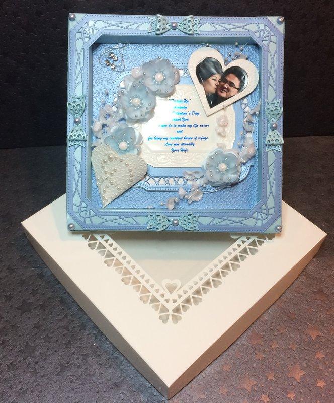 Valentine's Shadowbox in Blue