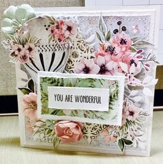 "Minty Secret Garden ""You Are Wonderful"" Card"