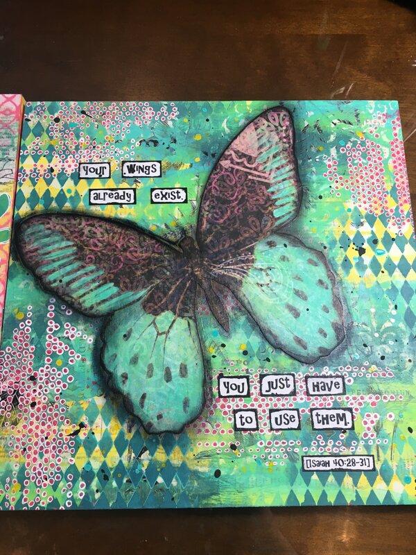 """""""Wings"""" 12x12 wood art piece - Hannah"""