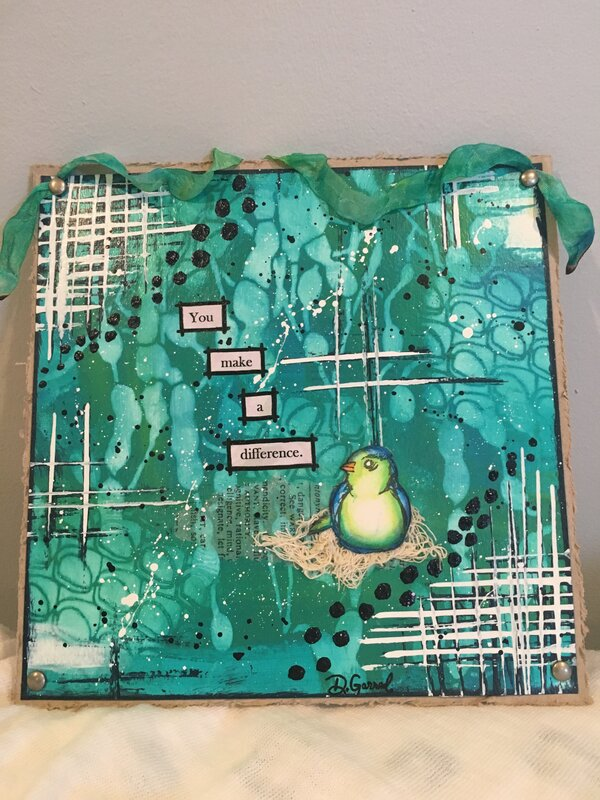 """""""Discovering"""" Teal Watercolor on Chipboard"""