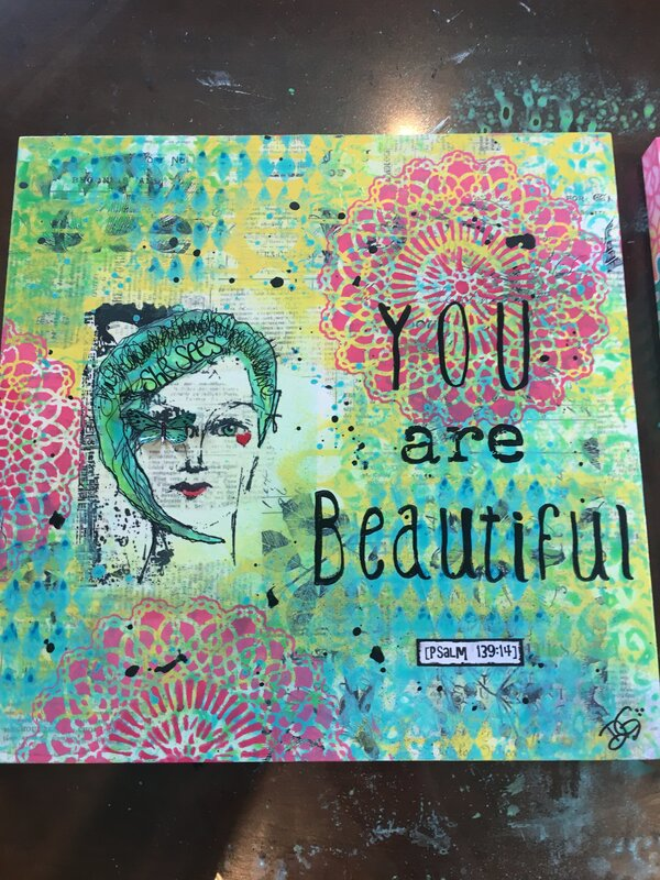 """Beautiful"" Art piece 12x12 wood - Hannah"
