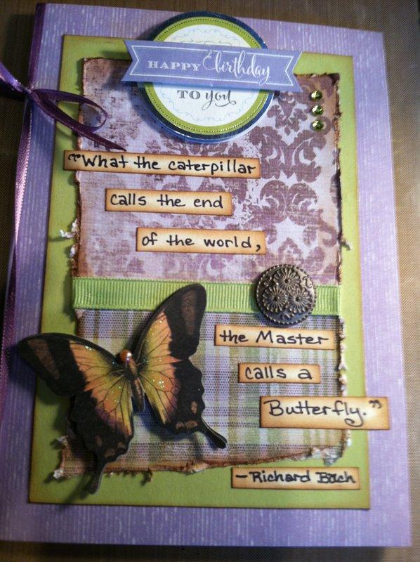 Butterfly purple teacher card