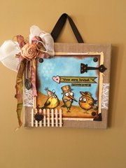 Burlap Canvas Bird Crazy