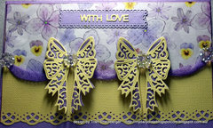 Double tattered lace bow card