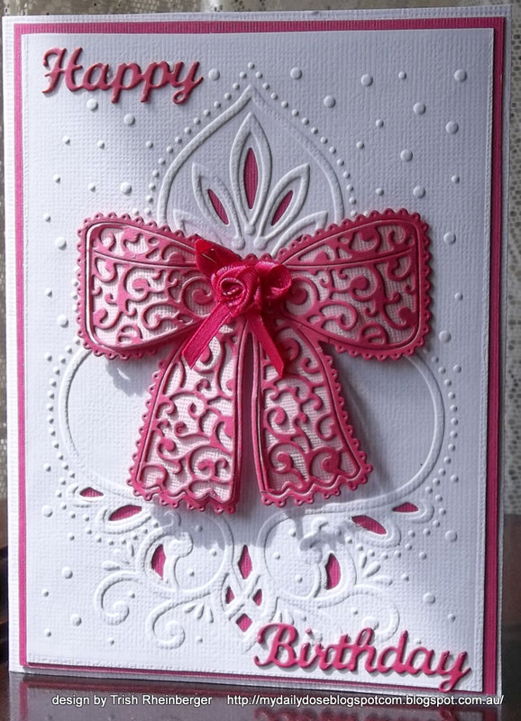 Tattered lace bow birthday card