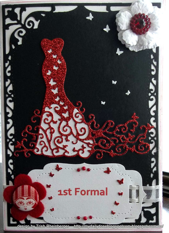 Tattered lace red carpet dress die