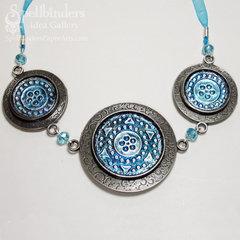Aqua and Silver Medallion Necklace by Heidi van Laar