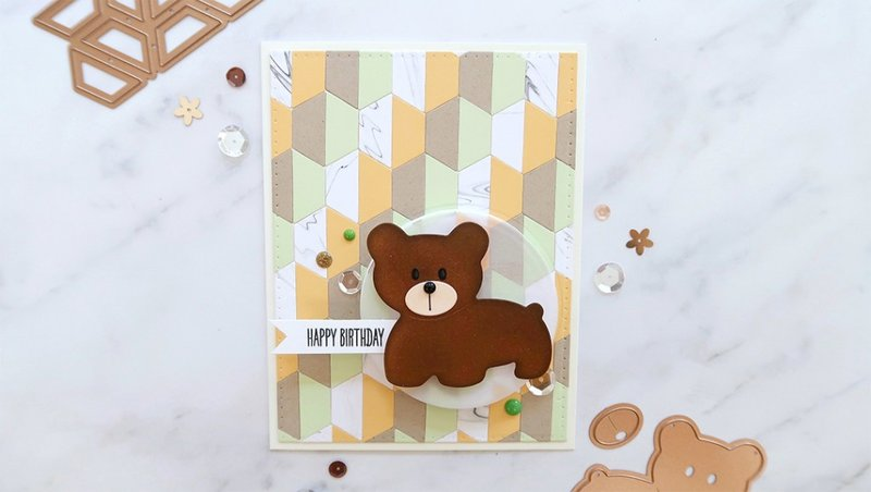Adorable Birthday Card Ft. Half Hex Quilt & Bear Scout by Laura Sterckx