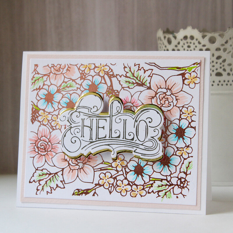 Hello card with Glimmer plates by Hussena Calcuttawala