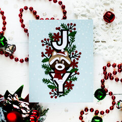 Christmas Racoon Card by Svitlana Shayevich