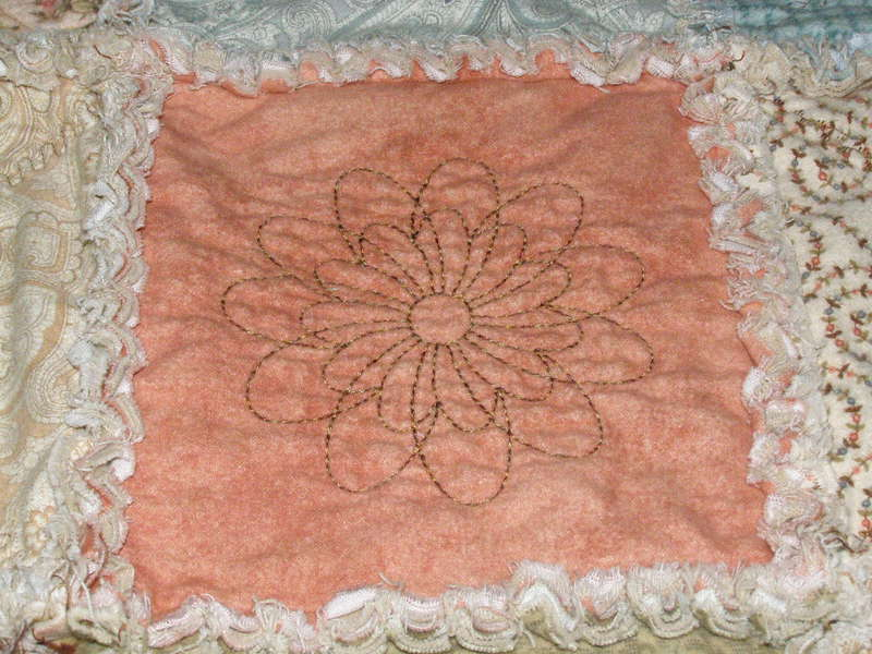 Rag quilt embroidered block