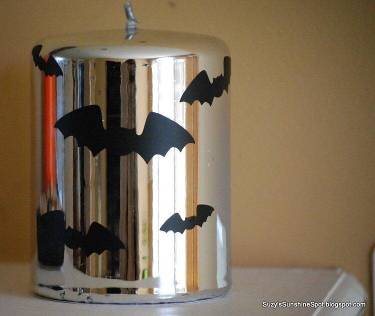 Hallowen Vinyl on candle.