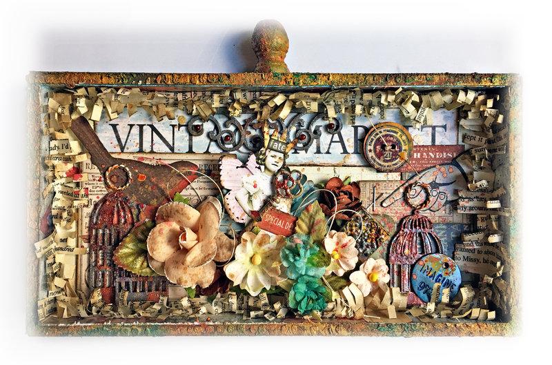Vintage Market Idea-Ology Vignette Tray *Scraps of Darkness*