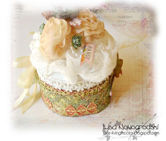 Altered tin cupcake box**Scraps of Elegance**