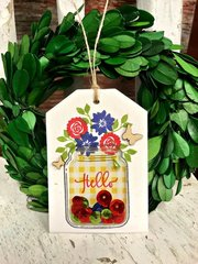 Hello Mason Jar Tag by Patty Folchert