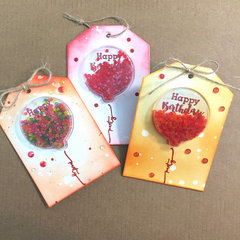 Happy Birthday Shaker Tags by Kristine Davidson