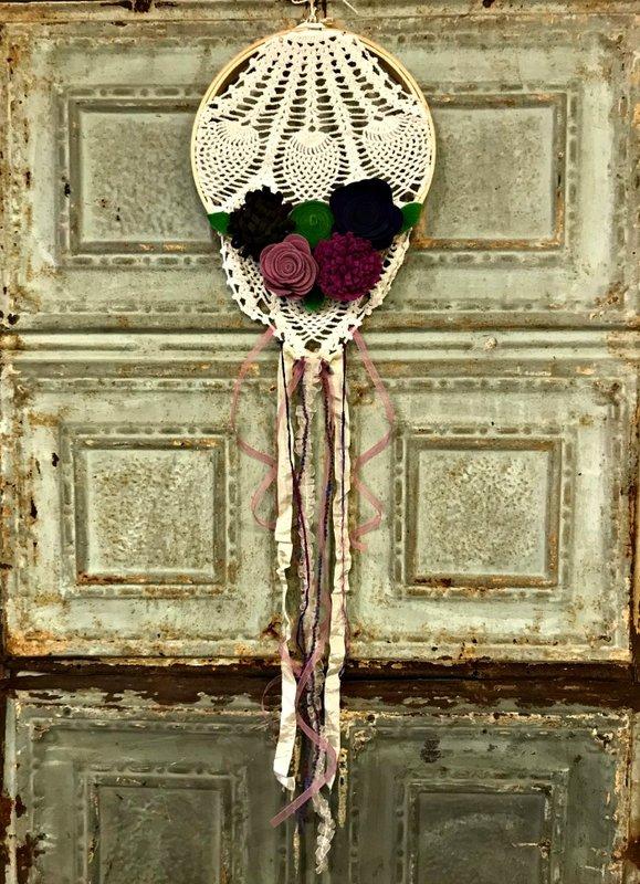 Felt Flower Dreamcatcher by Patty Folchert
