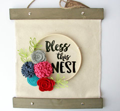 Bless This Nest Hanging Canvas